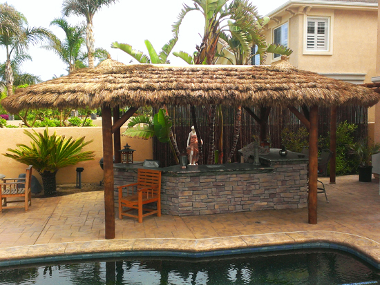 10x19 Foot Oval Tahitian Palmtiki Hut Palapa 4 Posts