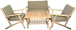 Bamboo Chair Love Seat table set (4 piece)