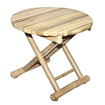 Small Round Bamboo Folding Table 19.75x17