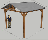 12ft. x 12ft. Corrugated Gable Roof Hut - 4 Posts