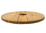 3 Foot Redwood Round Table w/6