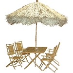 6 pc Bamboo Palapa and Table Set
