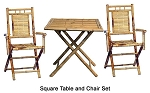 3 pc Bamboo Square table and Armchair Set