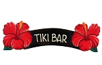 Tiki Bar Red Hibiscus Sign 6x20