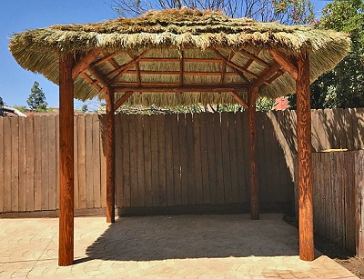 10x10 Tahitian Palm Tiki Hut with Canyon Brown Stain Upgrade