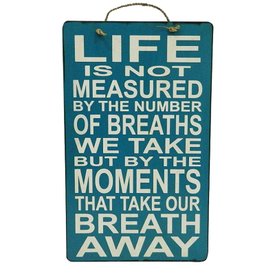 "SIGN - ""LIFE IS NOT MEASURED....."" 12x20"