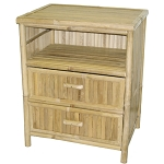 Bamboo Night Stand Table w/Drawers