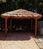 12x12 Tahitian Palm Hut shown w/Canyon Brown Stain