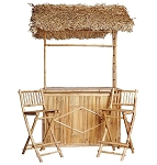 Bamboo Tiki Bar with Thatch Roof 4 Pc.