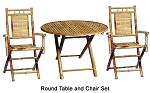 3 pc Bamboo Rount table and Armchair Set