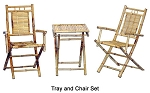 3 Piece Bamboo Tray & Armrest Chair Set